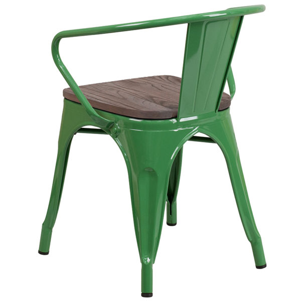 Stackable Bistro Style Chair Green Metal Chair With Arms