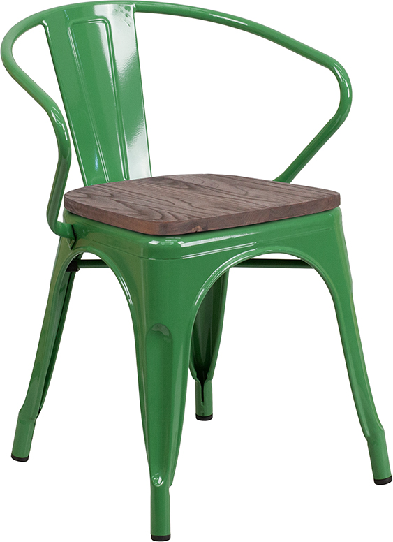 Wholesale Green Metal Chair with Wood Seat and Arms