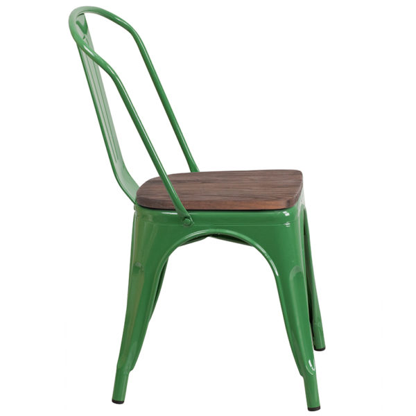 Lowest Price Green Metal Stackable Chair with Wood Seat