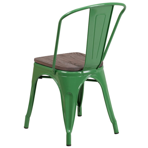 Stackable Bistro Style Chair Green Metal Stack Chair