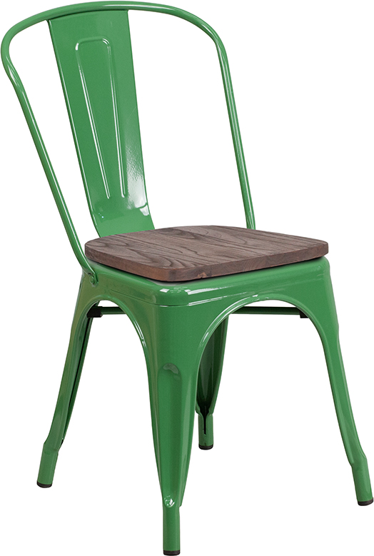 Wholesale Green Metal Stackable Chair with Wood Seat