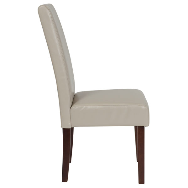 Lowest Price Greenwich Series Beige Leather Parsons Chair