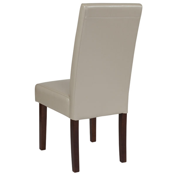 Mid-Century Style Beige Leather Parsons Chair