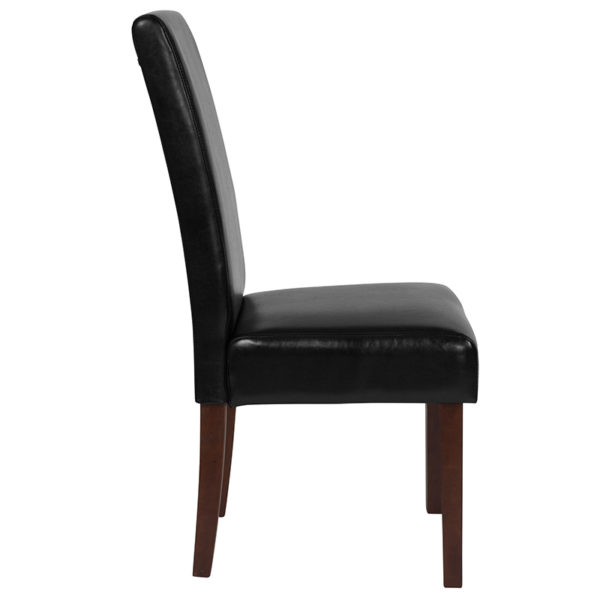 Lowest Price Greenwich Series Black Leather Parsons Chair