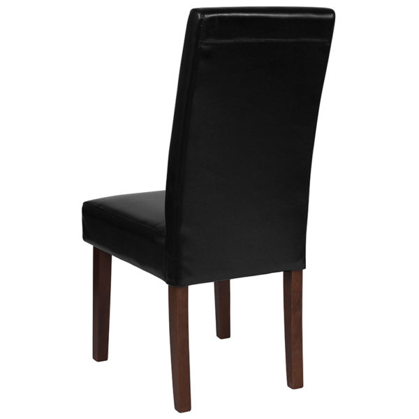 Mid-Century Style Black Leather Parsons Chair