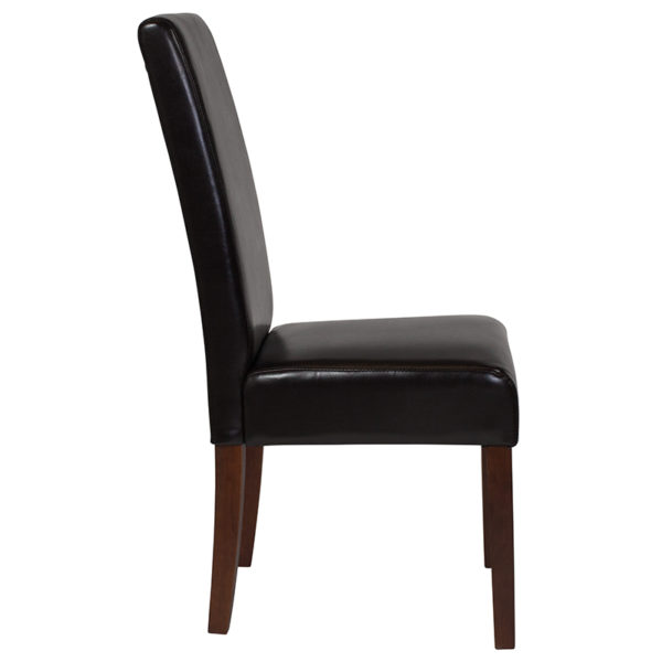 Lowest Price Greenwich Series Brown Leather Parsons Chair