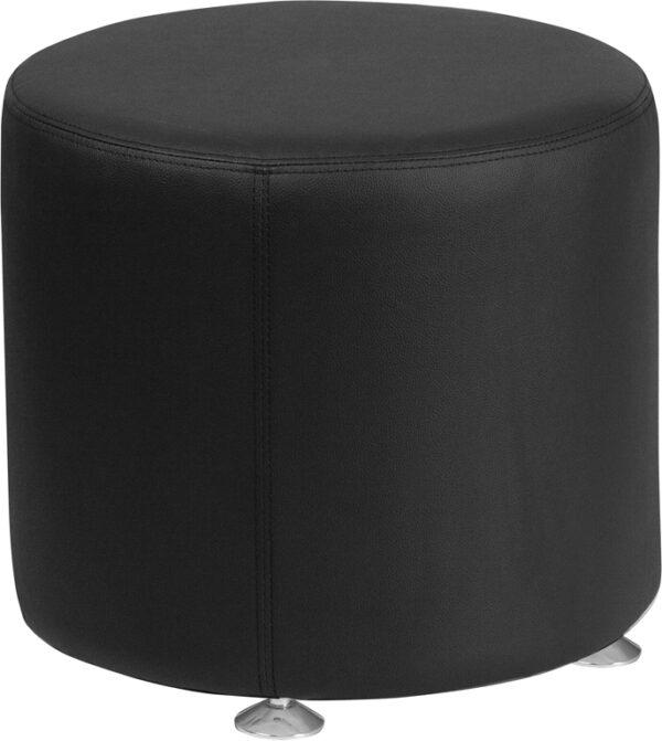 Wholesale HERCULES Alon Series Black Leather 18'' Round Ottoman