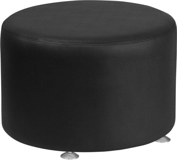 Wholesale HERCULES Alon Series Black Leather 24'' Round Ottoman