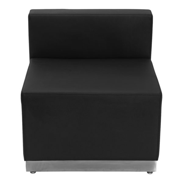 Wholesale HERCULES Alon Series Black Leather Chair with Brushed Stainless Steel Base