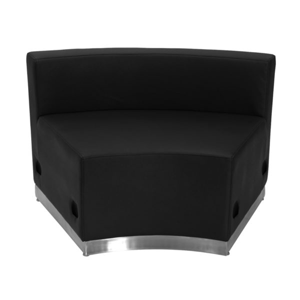 Wholesale HERCULES Alon Series Black Leather Concave Chair with Brushed Stainless Steel Base