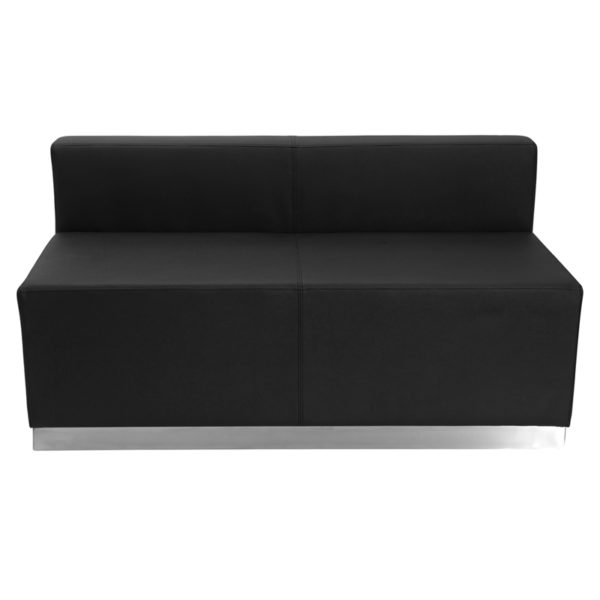 Wholesale HERCULES Alon Series Black Leather Loveseat with Brushed Stainless Steel Base