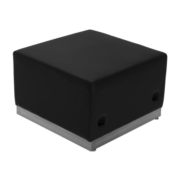 Wholesale HERCULES Alon Series Black Leather Ottoman with Brushed Stainless Steel Base
