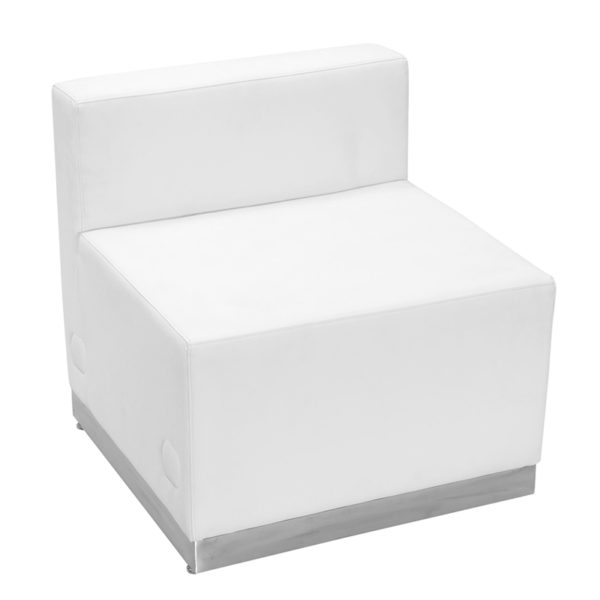 Lowest Price HERCULES Alon Series Melrose White Leather Chair with Brushed Stainless Steel Base