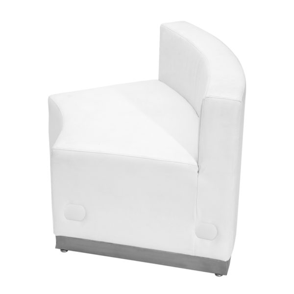 Lowest Price HERCULES Alon Series Melrose White Leather Concave Chair with Brushed Stainless Steel Base