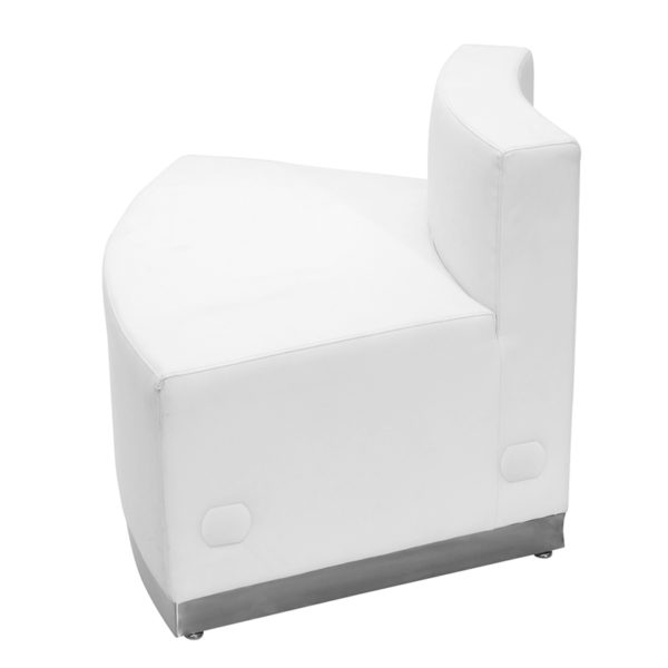 Lowest Price HERCULES Alon Series Melrose White Leather Convex Chair with Brushed Stainless Steel Base