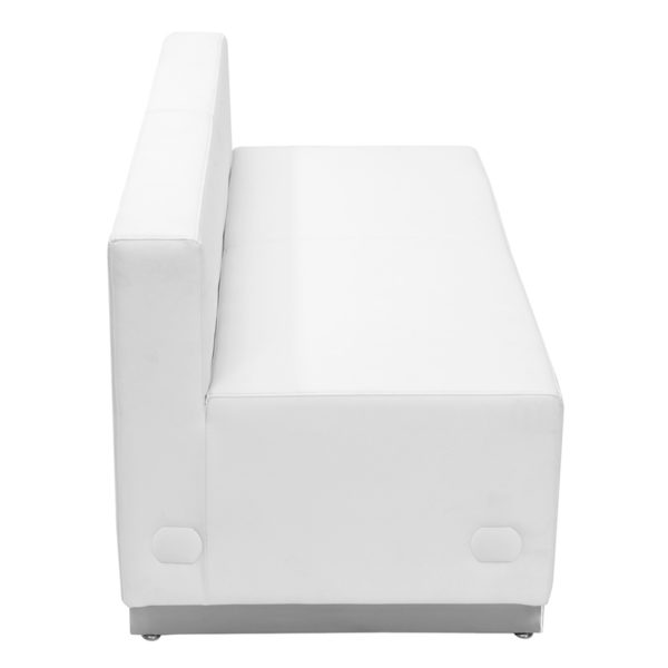 Lowest Price HERCULES Alon Series Melrose White Leather Loveseat with Brushed Stainless Steel Base