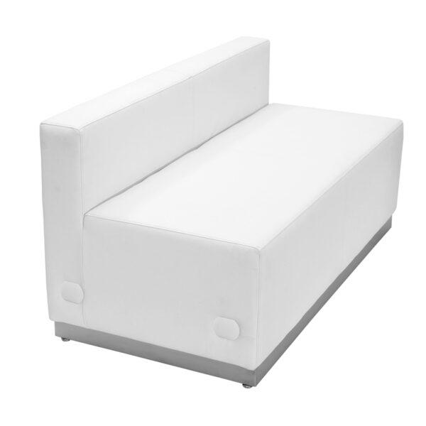 Modular Loveseat White Leather Loveseat