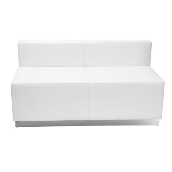 Wholesale HERCULES Alon Series Melrose White Leather Loveseat with Brushed Stainless Steel Base