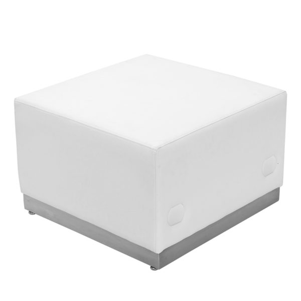 Wholesale HERCULES Alon Series Melrose White Leather Ottoman with Brushed Stainless Steel Base