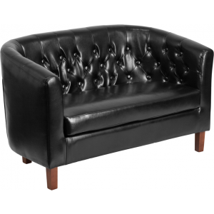 Wholesale HERCULES Colindale Series Black Leather Tufted Loveseat