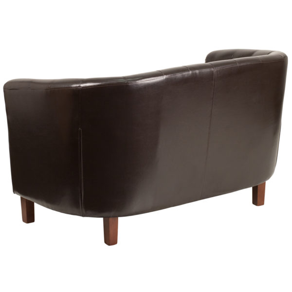 Lowest Price HERCULES Colindale Series Brown Leather Tufted Loveseat