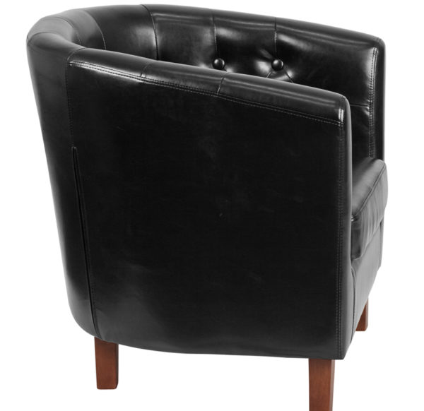 Lowest Price HERCULES Cranford Series Black Leather Tufted Barrel Chair