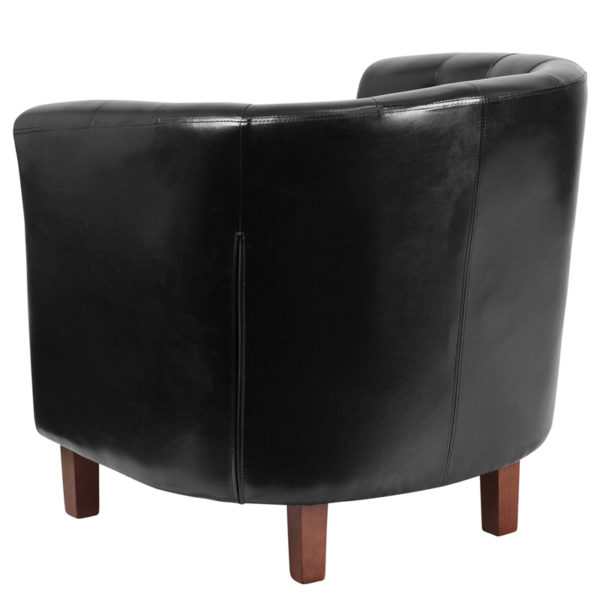 Traditional Style Black Leather Barrel Chair
