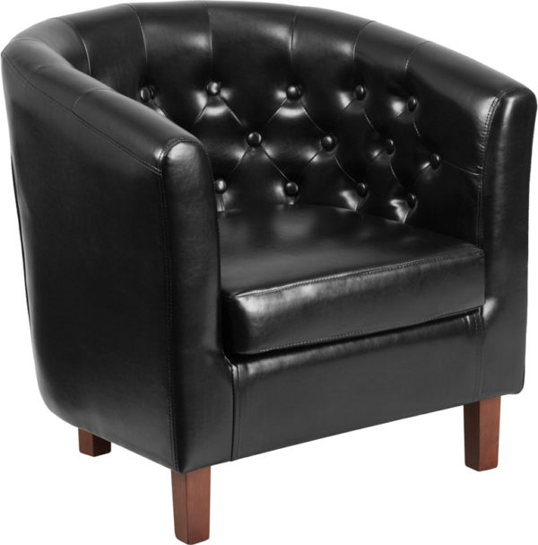 Wholesale HERCULES Cranford Series Black Leather Tufted Barrel Chair