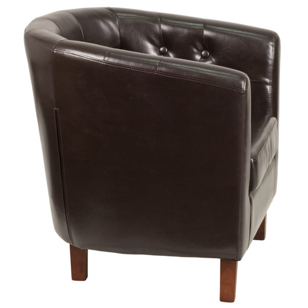 Lowest Price HERCULES Cranford Series Brown Leather Tufted Barrel Chair