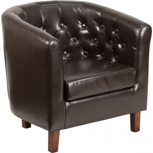 Wholesale HERCULES Cranford Series Brown Leather Tufted Barrel Chair