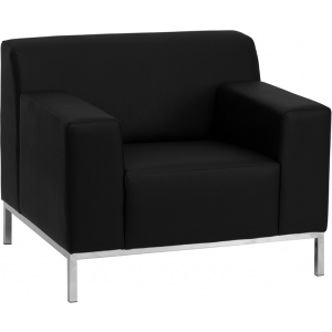 Wholesale HERCULES Definity Series Contemporary Black Leather Chair with Stainless Steel Frame