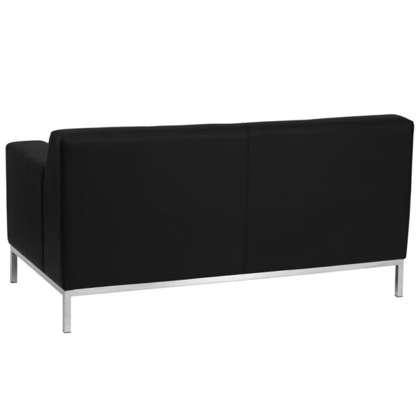 Lowest Price HERCULES Definity Series Contemporary Black Leather Loveseat with Stainless Steel Frame
