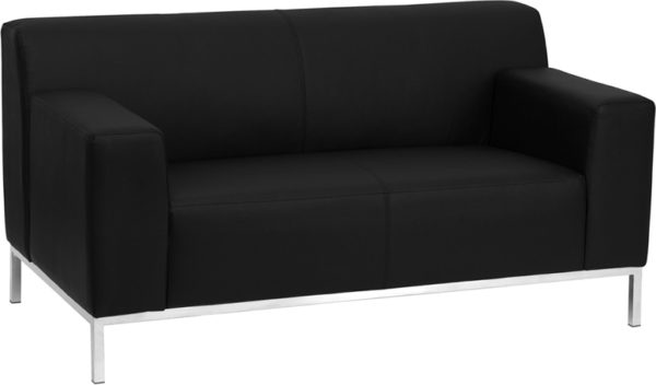 Wholesale HERCULES Definity Series Contemporary Black Leather Loveseat with Stainless Steel Frame