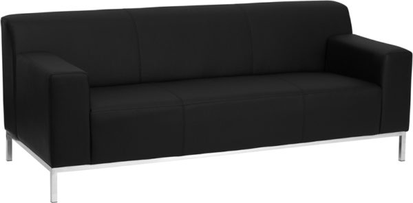 Wholesale HERCULES Definity Series Contemporary Black Leather Sofa with Stainless Steel Frame