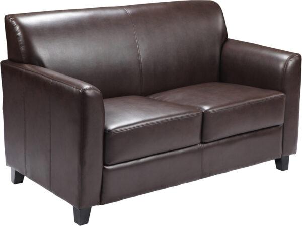 Wholesale HERCULES Diplomat Series Brown Leather Loveseat