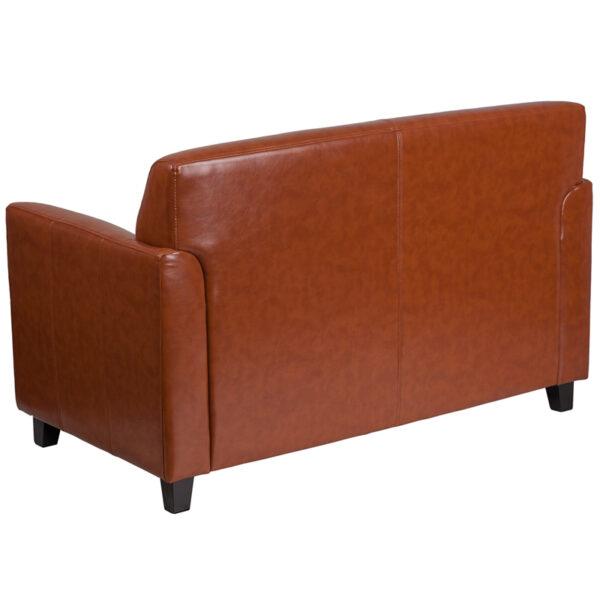 Lowest Price HERCULES Diplomat Series Cognac Leather Loveseat