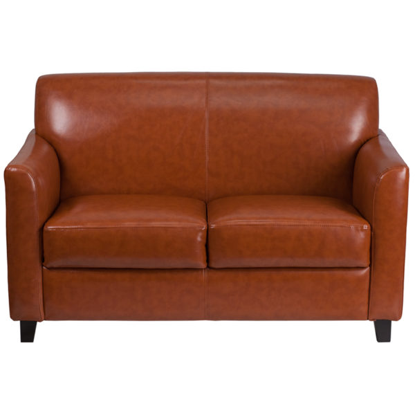 Contemporary Style Cognac Leather Loveseat