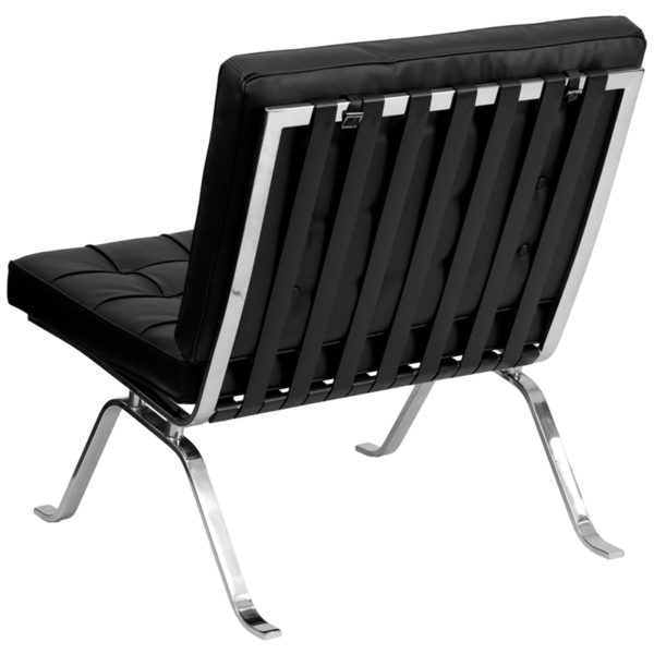Lowest Price HERCULES Flash Series Black Leather Lounge Chair with Curved Legs