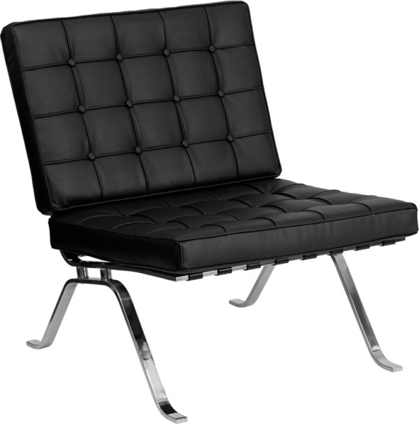 Wholesale HERCULES Flash Series Black Leather Lounge Chair with Curved Legs