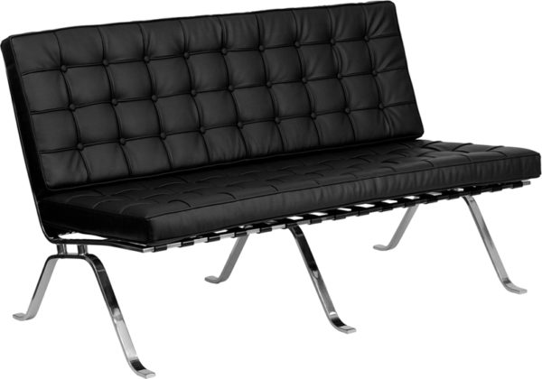 Wholesale HERCULES Flash Series Black Leather Loveseat with Curved Legs