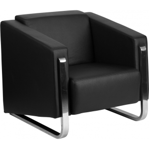 Wholesale HERCULES Gallant Series Contemporary Black Leather Chair with Stainless Steel Frame