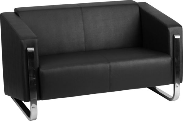 Wholesale HERCULES Gallant Series Contemporary Black Leather Loveseat with Stainless Steel Frame