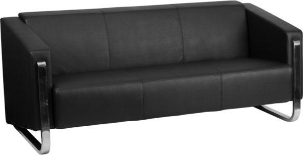 Wholesale HERCULES Gallant Series Contemporary Black Leather Sofa with Stainless Steel Frame