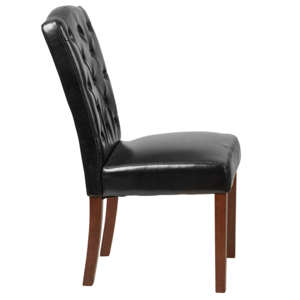 Lowest Price HERCULES Grove Park Series Black Leather Tufted Parsons Chair