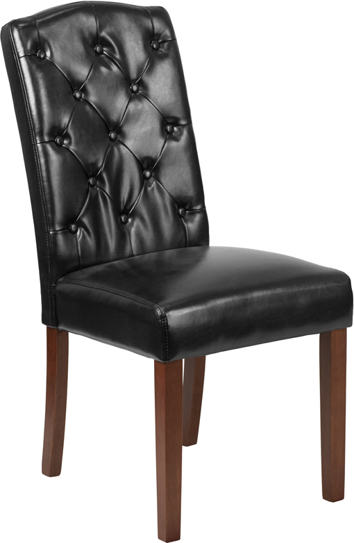 Wholesale HERCULES Grove Park Series Black Leather Tufted Parsons Chair