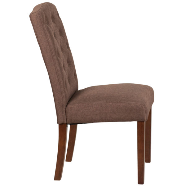Lowest Price HERCULES Grove Park Series Brown Fabric Tufted Parsons Chair