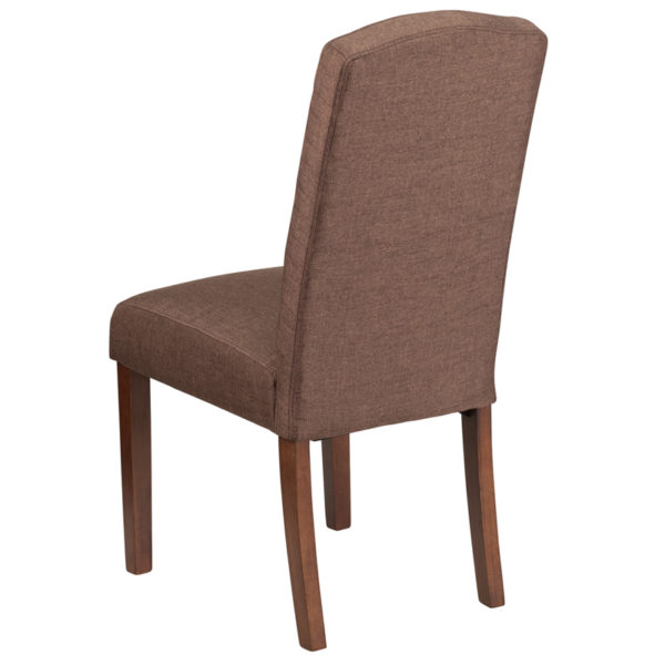 Mid-Century Style Brown Fabric Parsons Chair