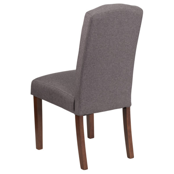 Mid-Century Style Gray Fabric Parsons Chair