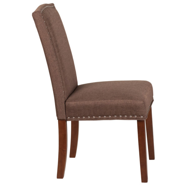Lowest Price HERCULES Hampton Hill Series Brown Fabric Parsons Chair with Silver Accent Nail Trim