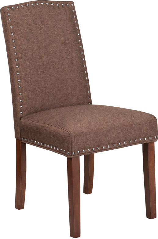 Wholesale HERCULES Hampton Hill Series Brown Fabric Parsons Chair with Silver Accent Nail Trim